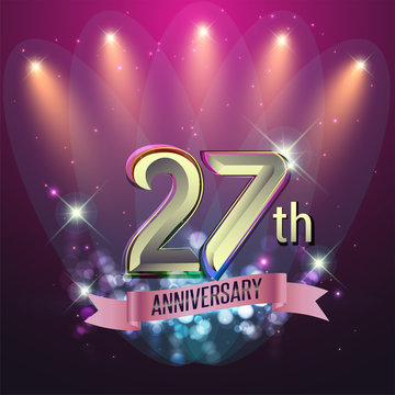 27th Anniversary, Party poster, banner and invitation - background glowing element. Vector Illustration
