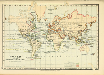 Old map. Engraving image Wall mural