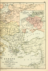 Fototapete - Old map. Engraving image 1715-1830