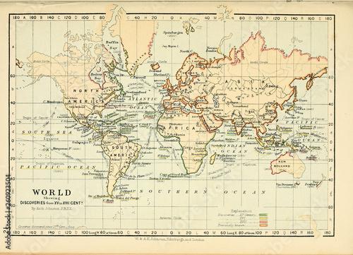 Fototapete Old map. Engraving image