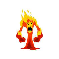 Furious Fire Monster, Fantasy Mystic Creature Cartoon Character Vector Illustration