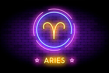 The Aries zodiac symbol, horoscope sign in trendy neon style on a wall. Aries astrology sign with light effects for web or print.