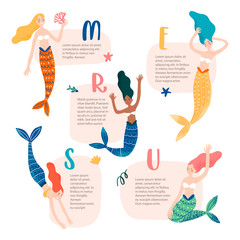 Cute mermaids on kind shapes with text. Isolated object, vector illustration