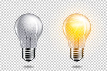 Wall Mural - Set of realistic transparent light bulbs, isolated.