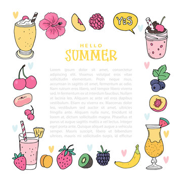 Bright colors set, fruit frame template, cocktails, smoothies and other fruits, isolated objects on white background