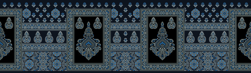 Seamless traditional indian textile fabric border Fototapete