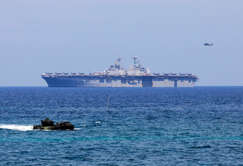 The USS-Wasp is pictured with another amphibious assault vehicle during the amphibious landing exercises of the U.S.-Philippines war games promoting bilateral ties at a military camp in Zambales province