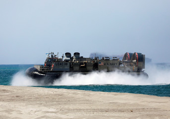 A Landing Craft Air Cushion (LCAC) vehicle is pictured during the amphibious landing exercises of the U.S.-Philippines war games promoting bilateral ties at a military camp in Zambales province