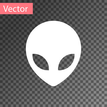 White Alien icon isolated on transparent background. Extraterrestrial alien face or head symbol. Vector Illustration