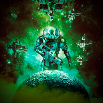 Skeleton military astronaut warrior / 3D illustration of science fiction scene of evil skull faced space soldier with laser pulse rifle rising above moon and fleet of spaceships in the background