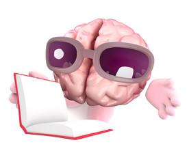 Funny cartoon 3d human brain character reading a book
