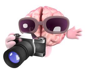 Funny cartoon 3d human brain character holding a camera
