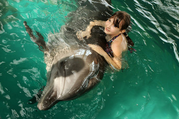 A girl hugs a dolphin in the pool. Swimming with dolphins, communication with animals