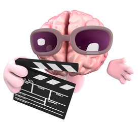 Funny cartoon 3d human brain character holding a movie makers clapperboard
