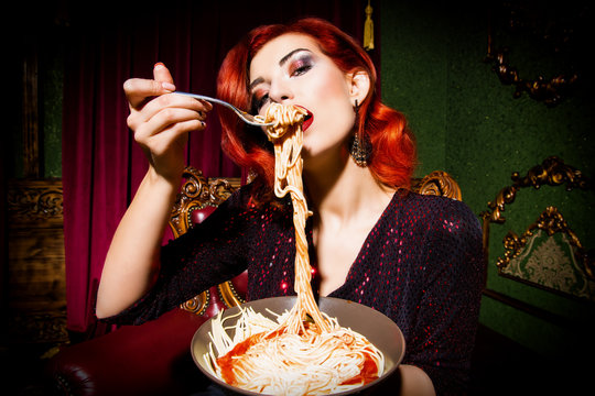 pasta and lady