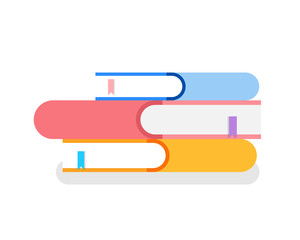 Pile of books in covers with bookmarks isolated icon vector. Isometric 3d signs with printed information, encyclopedia and reference literature closeup