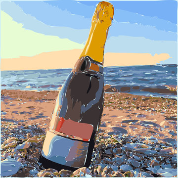 Bottle of sparkling wine on a beach. Watercolor vector illustration. Romantic colorful graphic poster