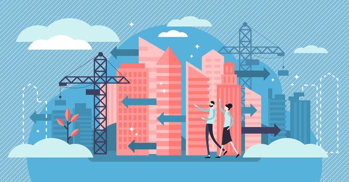 Urban Sprawl vector illustration. Tiny building construction person concept