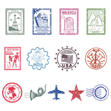 Travel and post stamps vector vintage design elements set isolated on a white background.