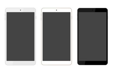 スマホ3色カラバリセット。ブラック、シャンパンゴールド/ホワイト、シルバー/ホワイト。UI/WEBデザイン素材