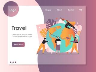 Travel vector website landing page design template
