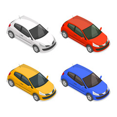 Set of passenger multi-colored cars