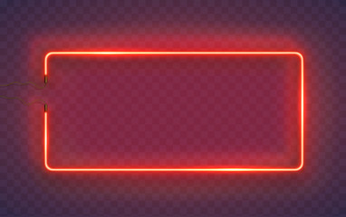 Neon rectangle lamp wall sign isolated on transparent background. Vector red power glowing bulb banner, light line border or frame for your design. Fototapete