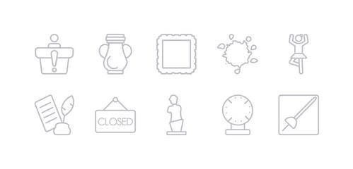 simple gray 10 vector icons set such as museum fencing, porcelain, venus de milo, closed, poetry, ballet, ink. editable vector icon pack