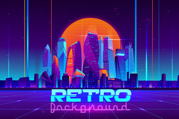 Retro background in neon colors cartoon vector with illuminated future city skyscrapers buildings, digital Utopia metropolis downtown illustration. Cyberpunk, vaporwave music party banner template Fotomurales