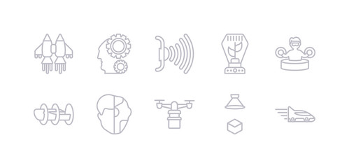 simple gray 10 vector icons set such as high speed tube, hologram, hover transport, humanoid, hyperloop, immersive, incubator. editable vector icon pack