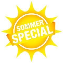 """Sonnen-Button Banner """"Sommerspecial"""" Gelb"""