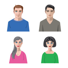 Isolated object of avatar and face icon. Set of avatar and profile vector icon for stock.