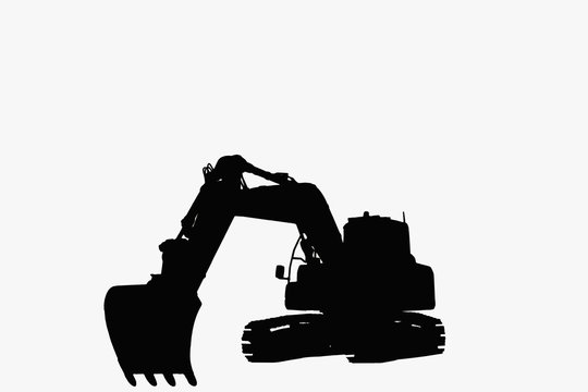 Excavator loader with silhouette   isolated on a white background