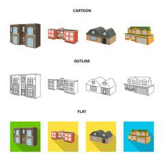 Vector design of facade and housing icon. Collection of facade and infrastructure vector icon for stock.