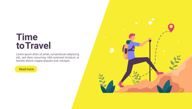 backpacker travel adventure concept. outdoor vacation recreation in nature theme of hiking, climbing and trekking with people character. template for landing page, banner, poster, ad or print media