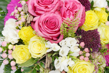 bouquet with many colorful flowers