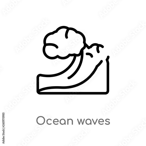 outline ocean waves vector icon  isolated black simple line