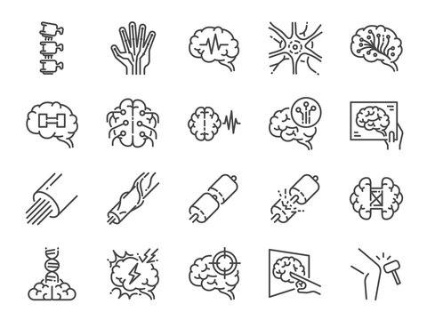 Neurology line icon set. Included icons as neurological, neurologist, brain, nervous system, nerves and more.