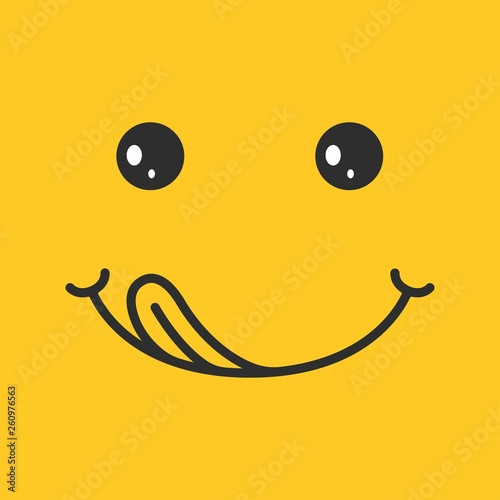 Yummy Smile On Yellow Background Emoticon With Tongue Lick Mouth
