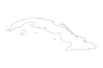 Vector map Cuba. Outline map. Isolated vector Illustration. Black on White background.