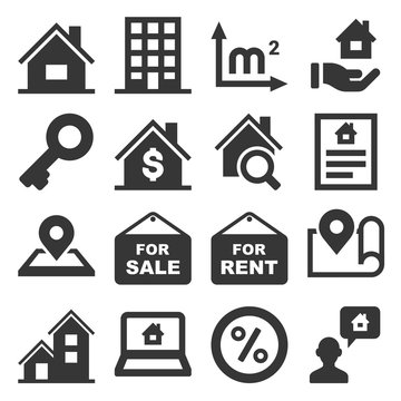 Real Estate Icons Set on White Background. Vector