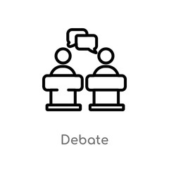 outline debate vector icon. isolated black simple line element illustration from political concept. editable vector stroke debate icon on white background