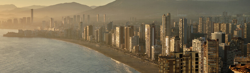 Panoramic image Benidorm cityscape, Spain