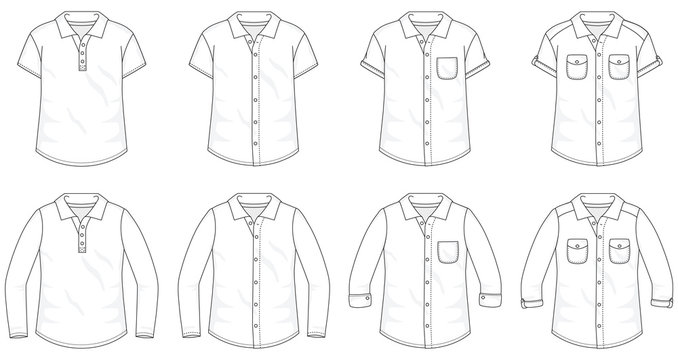 Set of Shirts Button up Blouses fashion stylish t-shirt polo collection template, fill in the blank vest tops various styles short and long sleeve with pocket and collar outline