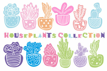 Collection of vector hand drawn houseplants