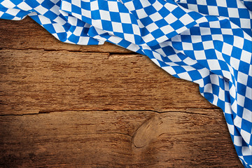old rustic retro wood wooden texture with bavarian flag dark brown vintage weathered Oktoberfest background Wall mural