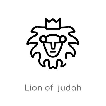 outline lion of  judah vector icon. isolated black simple line element illustration from religion-2 concept. editable vector stroke lion of  judah icon on white background