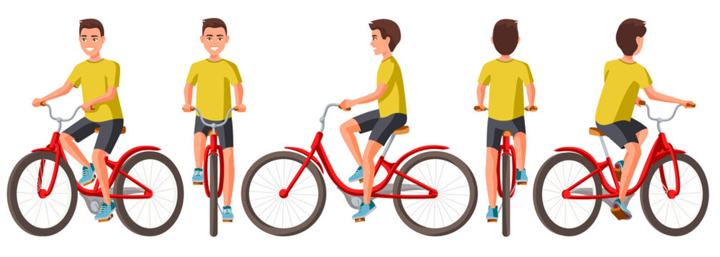 Vector illustration of young man in casual clothes riding bicycle .Cartoon realistic people illustration.Flat young man.Front, side and back views. Isometric views. Sportive man. Training, bike.