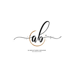 A B AB Initial letter handwriting and  signature logo.