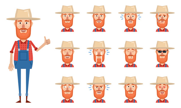 Set of old farmer emoticons. Farmer avatars showing different facial expressions. Happy, sad, cry, laugh, smile, angry, confused, surprised, in love and other emotions. Simple vector illustration